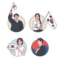 människor i traditionella koreanska dräkter vinkar med taegeukgi. vektor