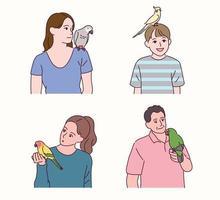 Menschen mit Papageien. vektor