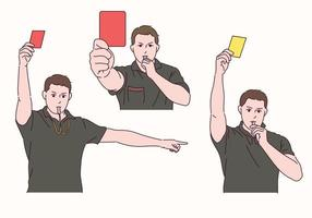Der Fußballschiedsrichter hält eine rote und gelbe Karte in der Hand und pfeift. vektor
