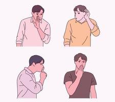 en man gör en hemlig gest. vektor