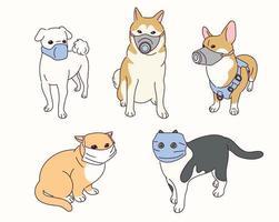 söta djur bär masker. vektor