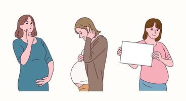 gravid kvinnas karaktär. vektor
