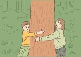 Die Kinder umarmen den Baum mit Liebe zum Baum. vektor