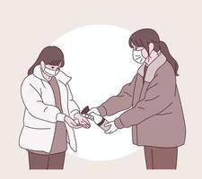 Eine Frau verteilt ein Desinfektionsmittel an eine andere. vektor