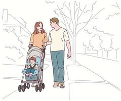 Mama und Papa gehen die Straße entlang und schieben einen Kinderwagen. vektor
