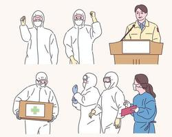 medizinisches Personal in Quarantäneuniformen kämpft gegen eine Infektionskrankheit. vektor