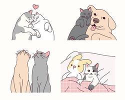 djurvänner med söta uttryck. vektor
