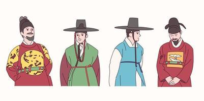 Männer in traditioneller koreanischer Kleidung. vektor