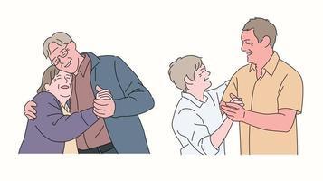 glückliches altes Leben. Ein älteres Paar tanzt romantisch. vektor