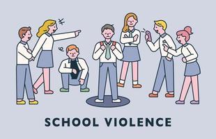 Schulgewalt. schlechte Studenten belästigen die minimale Vektorillustration eines anderen Studentenwohnungsdesignstils. vektor