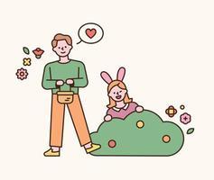 Osterzeichen. Ein Mädchen im Stirnband eines Kaninchens springt aus dem Busch, und ein Junge mit einem Korb mit Eiern steht daneben. flache Designart minimale Vektorillustration. vektor