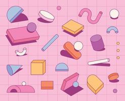Ein Retro-Stil, der aus Formen auf einem rosa Gitterplatz besteht. einfache Musterentwurfsschablone. vektor