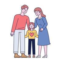 pappa och mamma dotter. glada familjer. platt designstil minimal vektorillustration.