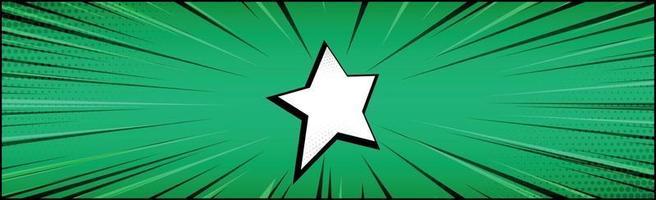panorama grön komisk zoom med linjer - vektor