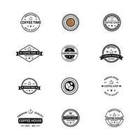 kaffe vintage logotyp ikon pack