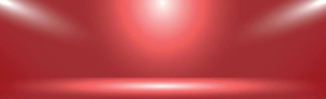 röd panoramastudiobakgrund med vitt sken vektor