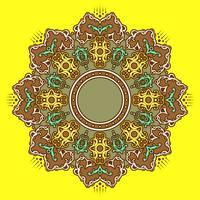 Mandala-dekorative Verzierungs-gelber Hintergrund-Vektor