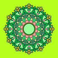 Mandala-dekorative Verzierungs-grüner Hintergrund-Vektor