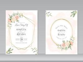 Hochzeitseinladungskartenschablone mit schöner Blumenhand gezeichnet vektor