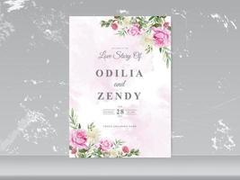 Hochzeitskarteneinladung mit schöner Blumenhand gezeichnet vektor