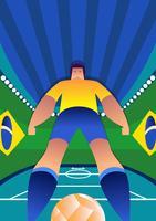 Brasilien-Weltcup-Fußball-Spieler-stehende Haltungen vektor