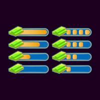uppsättning roliga avslappnade pengar framstegsfält för spel ui tillgång element vektorillustration
