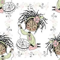 nahtloses Muster mit einer niedlichen kleinen schwarzen Mädchen-Nadelfrau, die auf einem Stickrahmen stickt. Vektor
