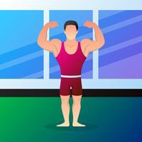 Muskulösa kroppsbyggare tecknade tecken