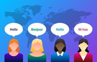 Nachrichtensprecher Frau sagen Heloo auf Bildschirm Illustration vektor