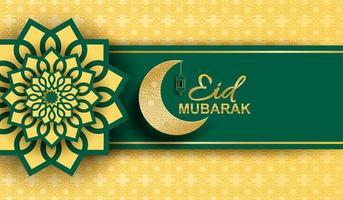 Eid Mubarak, Ramadan Mubarak Hintergrund. Design mit Mond, goldene Laterne auf goldenem Hintergrund. Vektor. vektor