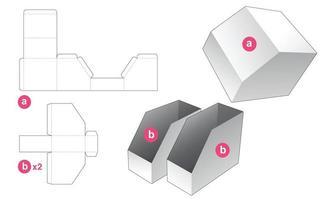 dubbel fasad brevpapperslåda med stansad mall för lock vektor