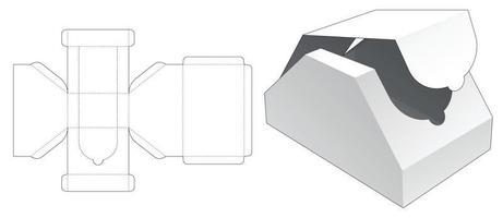 abgeschrägte Reißverschlussbox gestanzte Schablone vektor
