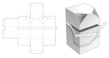 Reißverschluss 2 abgeschrägte Box gestanzte Vorlage vektor