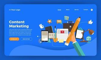 Content-Marketing-Website-Modell mit Geschäftselementen vektor