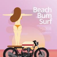 Strand-Gammler und Mädchen, die auf Motorrad-, Strand-und Sonnenuntergang-Ferien-Illustration surfen
