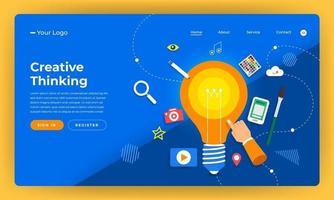 kreativt tänkande webbplats målsida mockup vektor