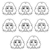 uppsättning av kvinnans känslor. ansiktsuttryck. vektor