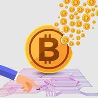 Bitcoin-Kryptowährung mit flachem Designkonzept