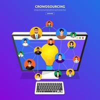 Crowdsourcing für flaches Designkonzept vektor