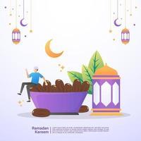 muslimsk man glad och åtnjuter ramadan iftar måltid. illustration koncept av ramadan kareem vektor