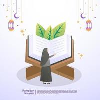 muslimsk kvinna läser koranen i månaden ramadan. illustration koncept av ramadan kareem vektor