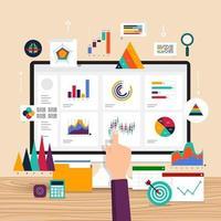 flache Designkonzeptdatenanalyse. Visualisieren Sie mit dem Marketingwachstum von Grafiken und Diagrammen. Vektorillustration. vektor