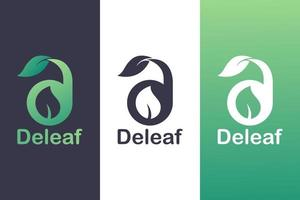 bokstaven d logotyp kombination med blad, natur logotyp koncept. vektor