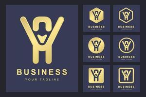 uppsättning abstrakt första bokstaven av, gyllene logotyp mall. logotyp för företag, personlig, organisation.