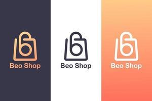 kombinerar bokstaven b-logotypen med en shoppingväska, begreppet en shoppinglogotyp.