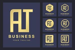 Satz des abstrakten Anfangsbuchstaben an, goldene Logoschablone. Logo für geschäftliche, persönliche, organisatorische. vektor