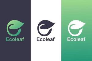 Buchstabe e Logo Kombination mit Blättern, Naturlogokonzept. vektor