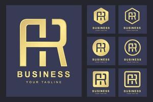 Satz abstrakter Anfangsbuchstabe ar, goldene Logo-Vorlage. Logo für geschäftliche, persönliche, organisatorische.