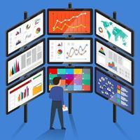 Geschäftsmann, der Geschäftsdaten auf vielen Bildschirmen studiert vektor
