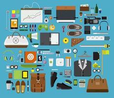 samling av personliga, mode-, arbets- och teknikobjekt